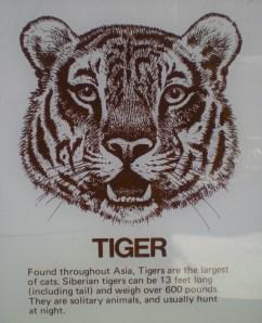 Tiger sign at Racine Zoo