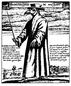 Fig. 1. The terrifying costume of a medieval plague doctor. Long coat ...