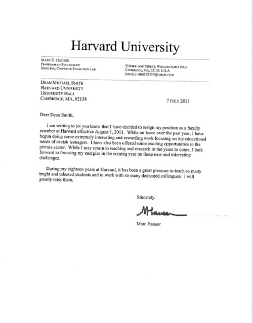Marc Hauser Resigns From Harvard 171 Why Evolution Is True