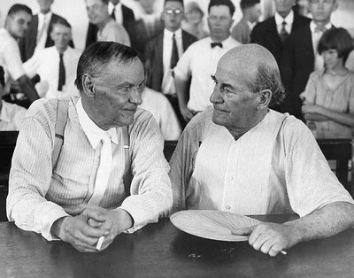 Clarence Darow (l) and William Jennings Bryan at Dayton. It was hot, ergo Bryan's fan.  The judge also allowed the lawyers to remove their coats.