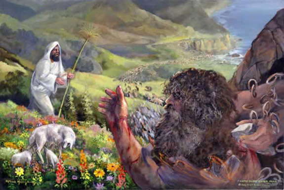 Jesus kills an entire herd of innocent pigs by imbuing them with demons cast out of two passersby (Matthew 8:28-34)