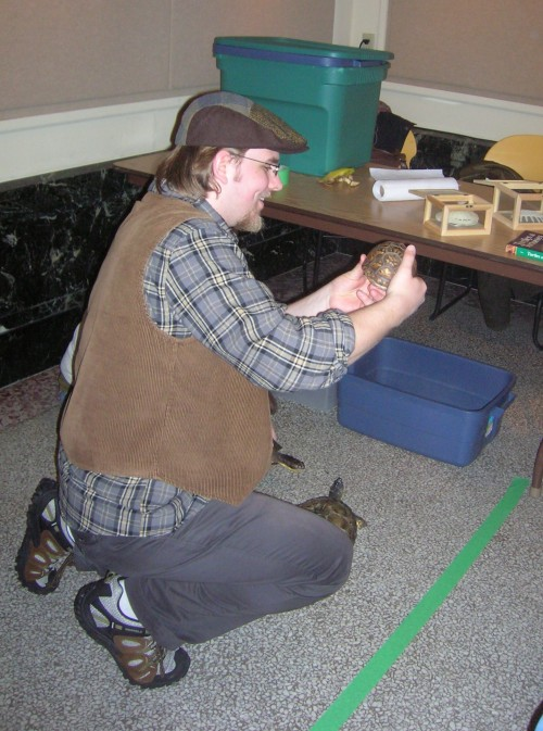 Sean Murphy demonstrates turtle shell morphology.