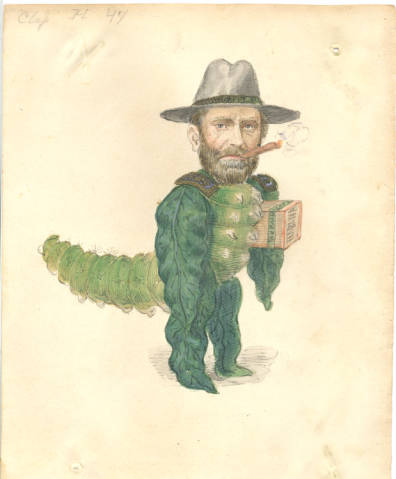 Ulysses Grant as a tobacco grub worm.
