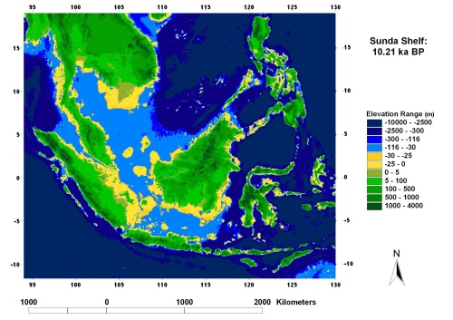 The Sunda Shelf with the sea level at -30 m, 10,210 years ago (from Sathiamurthy and Voris, 2006).