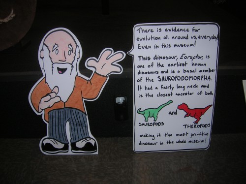 Charles Darwin explains dinosaur evolution.