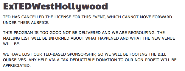 TED revokes license for TEDx West Hollywood event!