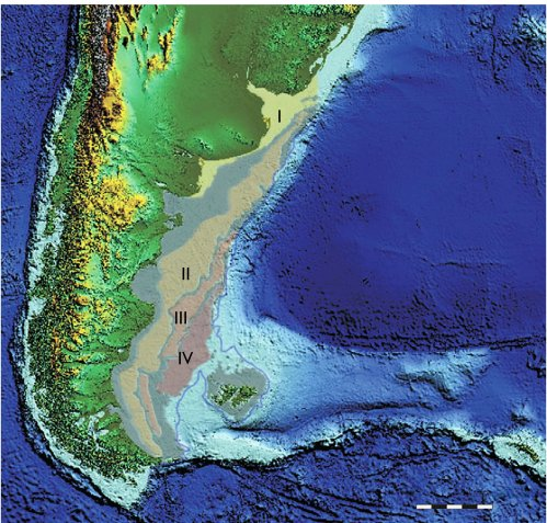 Bathymetry between the Falklands and the main. Level III cooresponds to the usual estimate of maximum glacial sea-level lowering (120 m), while level IV (140 m) is preferred by Austin et al. (from whom the figure is modified).