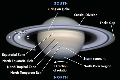Saturn's main telescopic features are labeled on this fine photograph taken by Robert English on February 7, 2012, with a 20-inch Newtonian reflector. At the time the rings were tilted 15°. Robert English