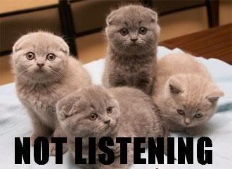 Not listening copy