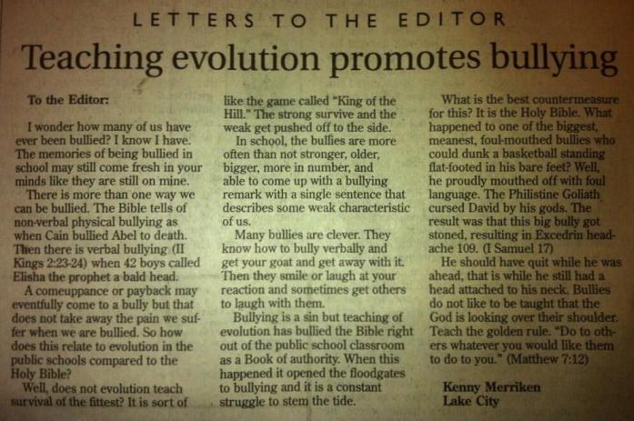 Antievolution letter