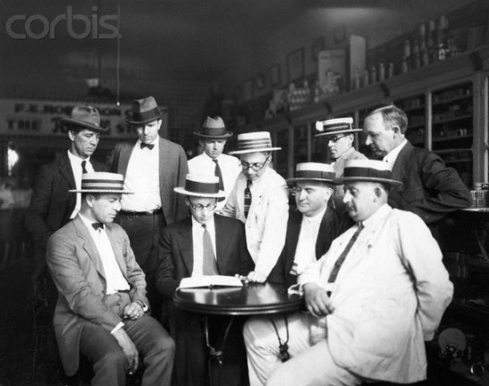 John Scopes with Men at Drug Store Table