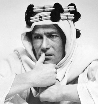 Peter O'Toole as T.E. Lawrence, in a still reminiscent of a famous sketch Lawrence. (From The Guardian)