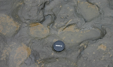 The size of the Happisburgh footprints compared to a camera lens cap