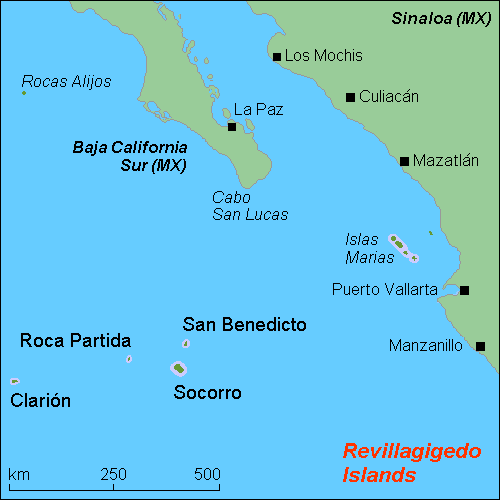 The Revillagigedo Islands (from Wikipedia).
