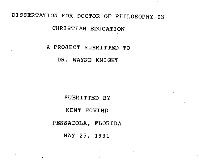 Typical chapters in a dissertation
