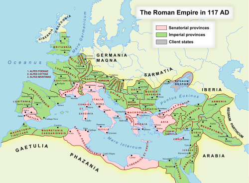 The Roman Empire at its greatest extent under Trajan, in 870 AUC.