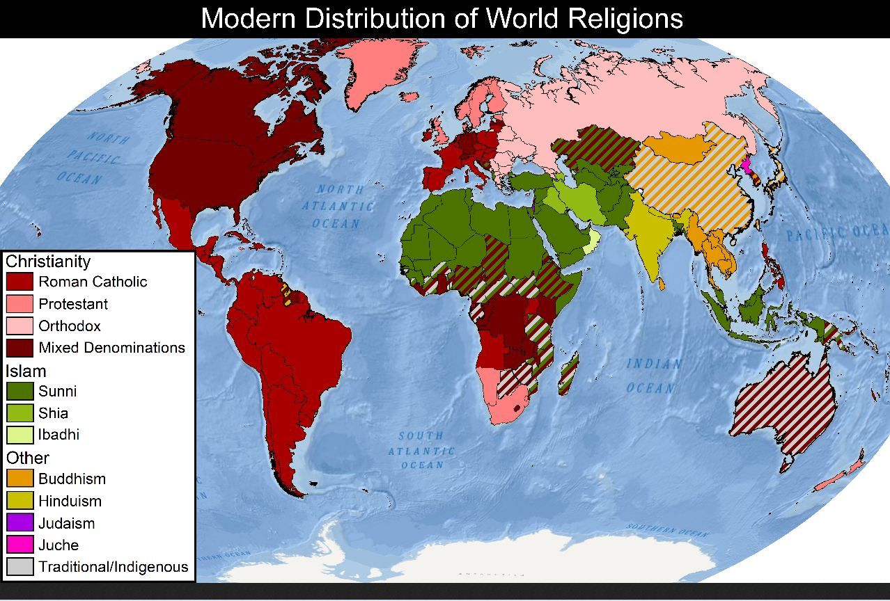Modern Distribution Of World Religions Why Evolution Is True - Religion map of world 2014