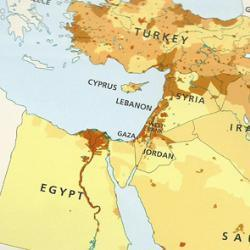 The Economist also publishes a map of the Middle East that omits