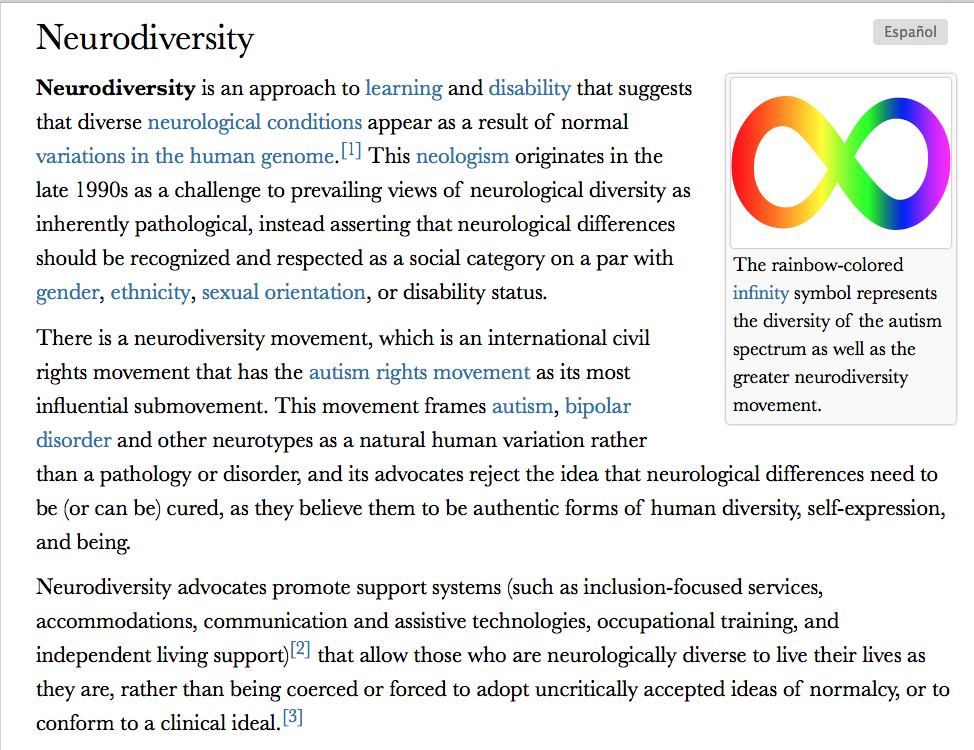 What Neurodiversity Movement Doesand >> What Do We Do About Neurodiversity Why Evolution Is True