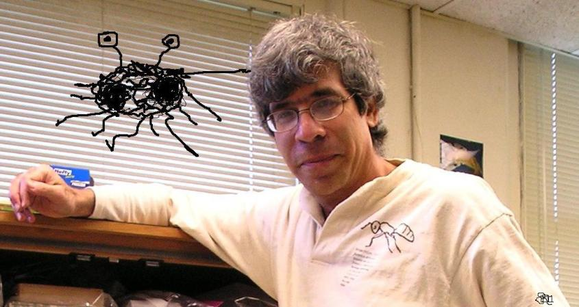 The more mature Jerry, touched by the noodly appendage of the Flying Spaghetti Monster (drawn by L. Menon).