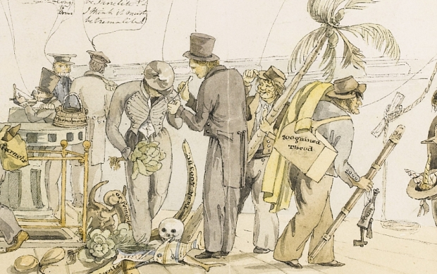 Image shows: Charles Darwin on board the Beagle, painted off the coast of Argentina on 24th September, 1832. The work is to be sold at auction by Sotheby's with an estimate of £50,000 - £70,000. Figures from left to right: 1) sailor with rifle, a 'Cabbage box' on his back, and his 'bag' in): 'I've kill'd a foine speciment of a flying monkey, shot three speciments of Geese, and was very near being yaffled by a d[am]d big bear!'; 2) a midshipman taking a bearing with a sextant; 'I've shipped the long telescope; already now Sir!!' 3) man in cap delivering sacks of geological specimens (one with labeled strata) to FitzRoy: 'Stand out of MY way!!! I've got specimens for the Captain!!!'; 4) officer using a prismatic surveying compass, reading out a stream of figures and making notes or drawing; 5) officer complaining 'there is no such thing as walking the deck for all these cursed specimens'; probably 1st Lieutenant John Clements Wickham, who is recorded as making similar comments in regards to Darwin's collecting forays; 6) post-captain Robert FitzRoy, with his back turned discussing geological specimens; 7) warrant officer (probably the ship's surgeon, Benjamin Bynoe), holding a cabbage, head bowed examining a specimen upon which Darwin is expatiating: 'I will consult my book when I go down'; 8) Charles Darwin, in a frock coat and top hat, talking at length about an insect specimen in his hand: 'Observe its legs are long, and the palpi are strongly toothed on the inner side. I think the whole insect appears of a dark chestnut brown colour with a yellowish cast on the abdomen. Its history is but little known but there can be no doubt of its being of a predacious nature. What do you think Mr –?' (Bynoe, as a warrant officer, would be addressed as Mr); 9) sailor, doffing hat and carrying a cabbage palm 'Mr E — Sir ask'd me to bring you this speciment' ('Mr E–' might well be Augustus Earle, the only person aboard who would have been addressed thus); 10) sailor with tripod, 