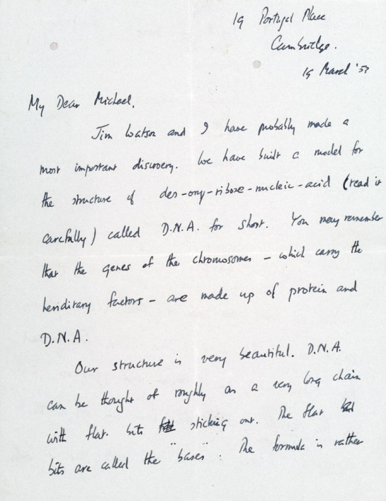 Letter from Francis Crick to his son, Michael.