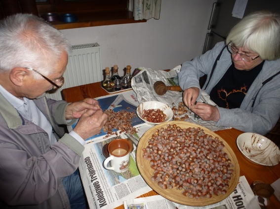 8. Cracking Hazelnuts for pie
