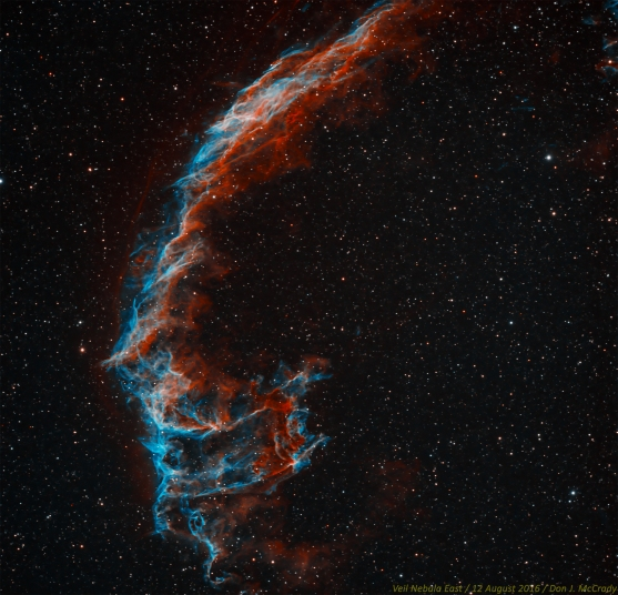 The eastern Veil Nebula (NGC 6992/6995) is just one part of a beautiful complex that is the remnant of a supernova that occurred thousands of years ago. It is a spectacular sight through a telescope eyepiece that has been fitted with an OIII or narrowband filter. Taken with a Stellarvue SVS130 and SBIG STL-4020M, with Hydrogen-alpha as red, and Oxygen-III as green and blue. Processed in MaximDL and Photoshop, and upsampled 1.5x.