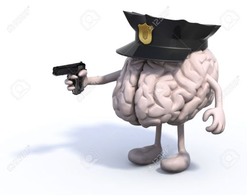 21855086-human-brain-with-arms-and-legs-police-cop-and-gun-on-hand-security-concepts-stock-photo