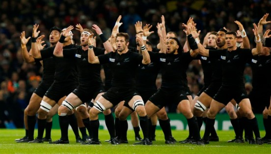 Rugby Union - New Zealand v France - IRB Rugby World Cup 2015 Quarter Final - Millennium Stadium, Cardiff, Wales - 17/10/15 New Zealand perform the haka before the start of the game Action Images via Reuters / Peter Cziborra Livepic