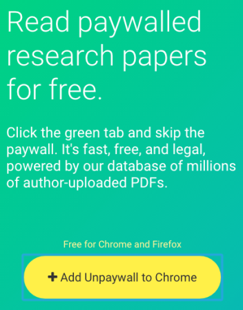a new and legal way to scientific papers even if they re  once you ve installed the extension and you get to a paper that s paywalled do this if it has a green tab beside it just click on the tab and the