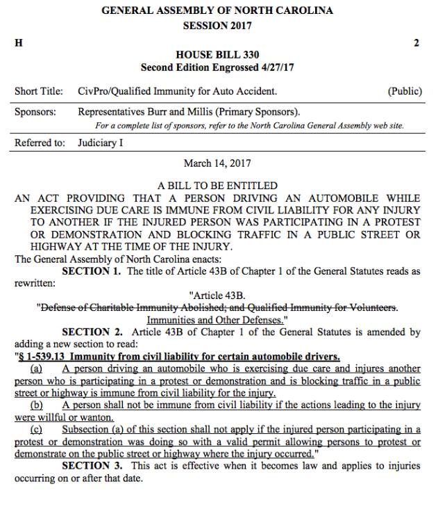 North Carolina legislature passes bill allowing drivers to
