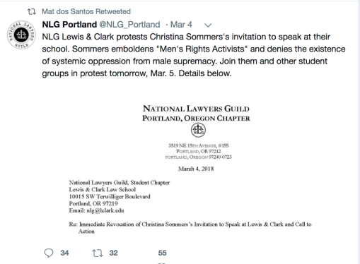 More from lewis and clark college christina hoff sommers and bari of student groups asking for sommerss invitation to lewis and clark to be rescinded or at least he retweeted the letter from those groups spiritdancerdesigns Choice Image