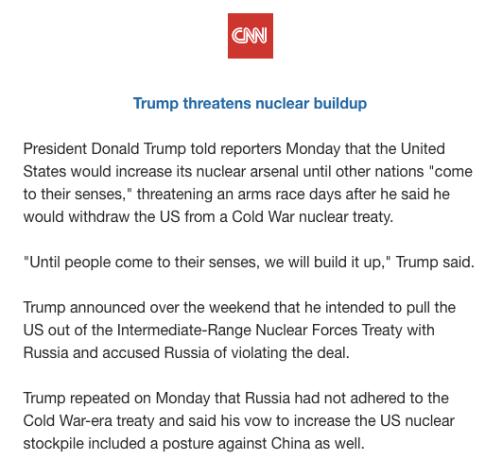 Nuke me now: Trump threatens big buildup of America's