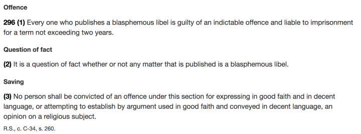 Canada repeals its blasphemy law « Why Evolution Is True