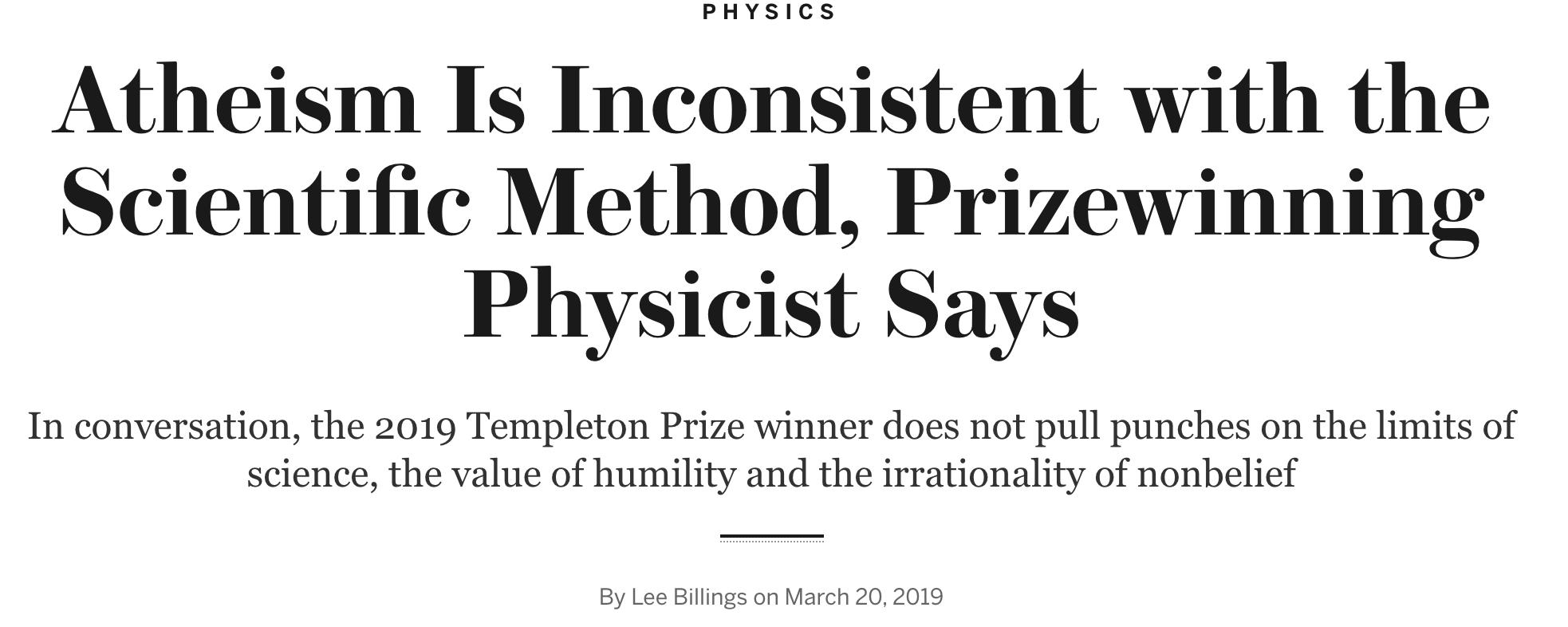 Templeton Prize winner spouts more nonsense in Scientific American