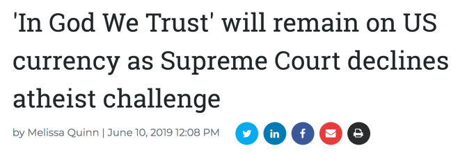 """Supreme Court rejects suit to remove """"In God We Trust"""" from"""