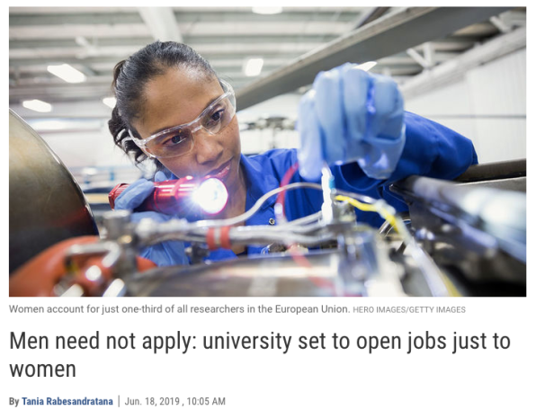 Women-only STEM jobs advertised at a Dutch university « Why