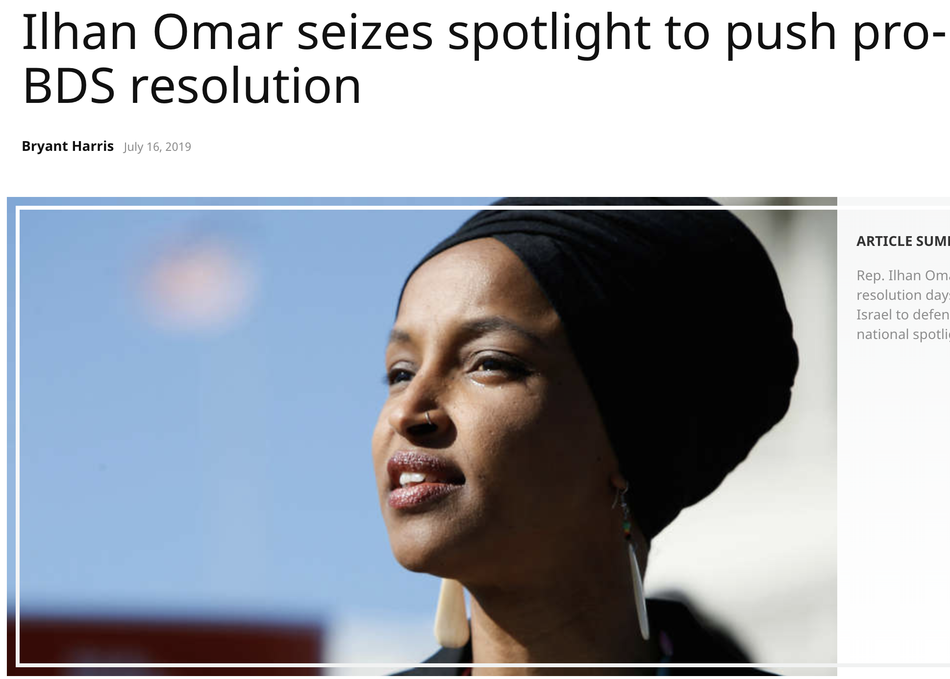 Ilhan Omar about to introduce pro-boycott (read: pro-BDS) resolution