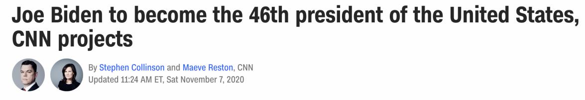 CNN calls Presidency for Biden